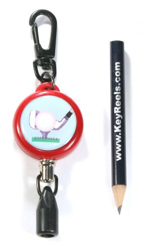 KR_KEY01_GOLF_RED. Heavy Duty, Red, Retractable golf pencil holder with carabiner. Stainless Steel Cord