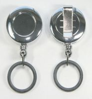 KR_SKEY_SAN_NPE Nickle Plated Effect Small keyreel with belt clip and a Rubber O-Ring to allow attachment to Hand Sanitizer Bottles.