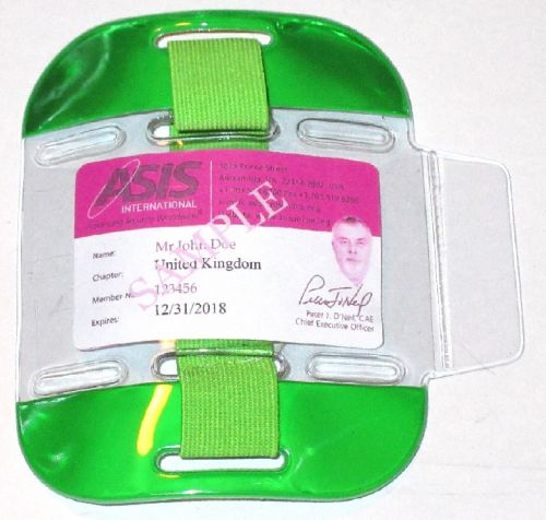 KR_ID_ARM_GRN Fluorescent Green SIA Compliant Arm Band ID Holder