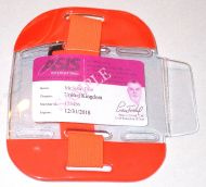 KR_ID_ARM_ORA Fluorescent Orange SIA Compliant Arm Band ID Holder