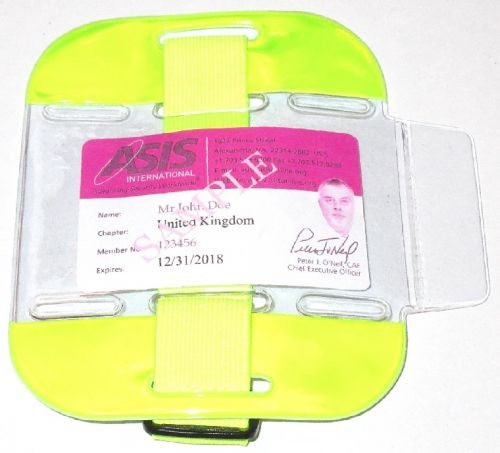 KR_ID_ARM_YEL Fluorescent Yellow SIA Compliant Arm Band ID Holder