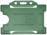 KR_IDPASS_07_SS_DGN Dark Green Recyclable Single Sided Landscape Open Faced ID Card Holder