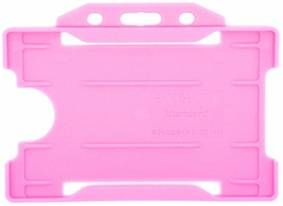 KR_IDPASS_07_SS_PNK Pink Recyclable Single Sided Landscape Open Faced ID Card Holder