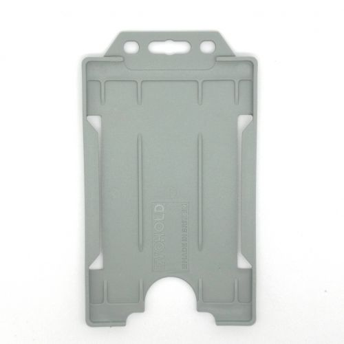 KR_IDPASS_06_SS_GRY Grey  Recyclable Single Sided Portrait Open Faced ID Card Holder