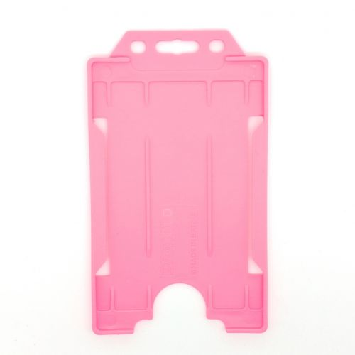 KR_IDPASS_06_SS_PNK Pink Recyclable Single Sided Portrait Open Faced ID Card Holder