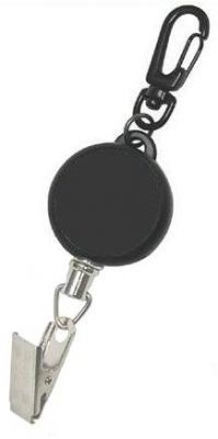 KR_KEY01_CC Key Reel with Carabiner Clip and Crocodile Clip. Stainless Steel Cord
