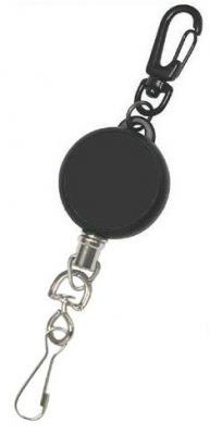 KR_KEY01_SC Key Reel with Carabiner Clip and Spring Clip. Stainless Steel Cord
