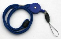 KR_LYD01_BLU_DM Blue Retractable Badge Reel/lanyard combination with quick release and Detatchable Mobile Loop
