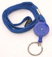 KR_LYD01_BLU_SR Blue Retractable Badge Reel/lanyard combination with quick release and Metal Split Ring.