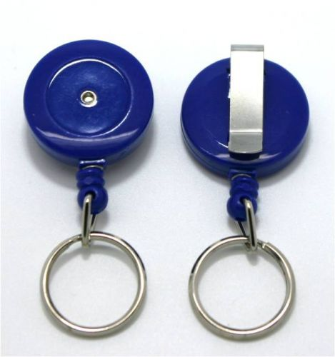 KR_SKEY_BLU_S Small retractable keyring with belt clip - Solid Blue