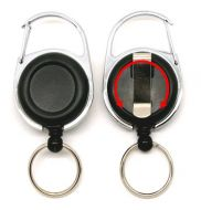 KR_SKEY_CAB_BLK_S Retractable Key Reel with both Carabiner and Belt clip inc 360 degree swivel - Solid Black