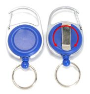 KR_SKEY_CAB_BLU_S Retractable Key Reel with both Carabiner and Belt clip inc 360 degree swivel - Solid Blue