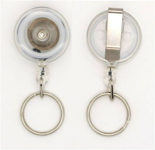 KR_SKEY_GRY_T Small retractable keyring with belt clip - Translucent Grey