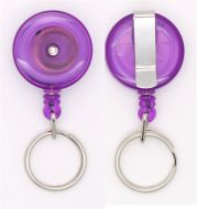 KR_SKEY_PUR_T Small retractable keyring with belt clip - Translucent Purple