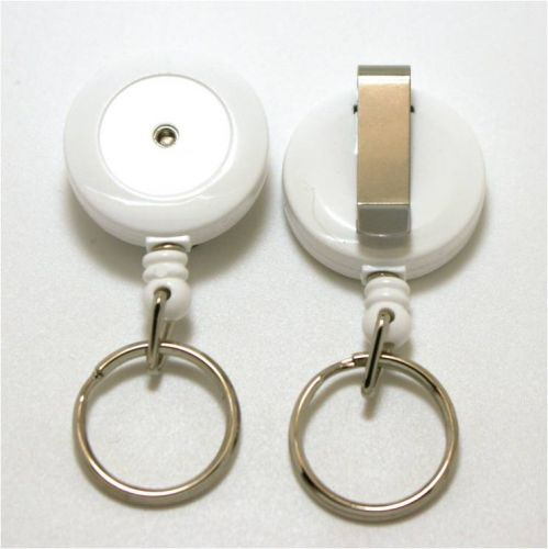 KR_SKEY_WHT_S Small retractable keyring with belt clip - Solid White