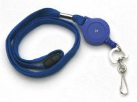 KR_LYD01_BLU_SC Blue Retractable Badge Reel/lanyard combination with quick release and Metal Swivel Clip.