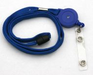 KR_LYD01_BLU_BS Blu Retractable lanyard with Quick Release including PVC Badge Strap