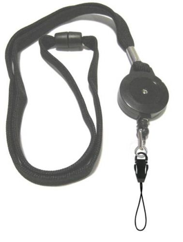 KR_LYD02_BLK_DM Black Retractable lanyard with Quick Release including detachable mobile loop