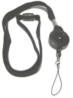 KR_LYD02_BLK_FL Black Retractable lanyard with Quick Release including Fixed Loop