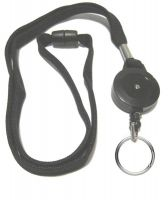 KR_LYD02_BLK_SR Black Retractable lanyard with Quick Release including 30 mm Split Ring