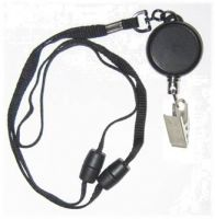 KR_LYD03_CC Heavy Duty Retractable Lanyard with dual Quick Release breakaways including a Metal Crocodile Clip.