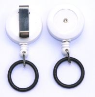 KR_SKEY_SAN_WHT Solid White Small keyreel with belt clip and a Rubber O-Ring to allow attachment to Hand Sanitizer Bottles.